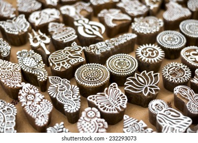 Henna wooden stamps for decorating the body or clothes, India.