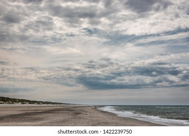 Henne Beach at the Danish North Sea coast on a cloudy day