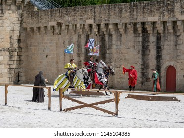 Hennebont, Brittany France - July 28 2018 : Medieval festival, Street animations Chivalry tournament