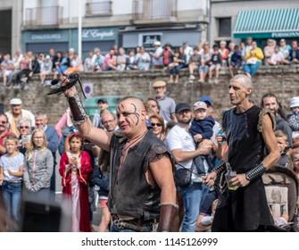 Hennebont, Brittany France - July 28 2018 : Medieval Сostume parade, Street animations
