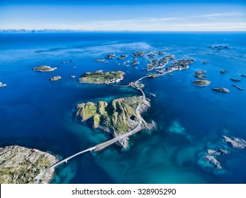 Henningsvaer, fishing port on Lofoten islands, scenic aerial view