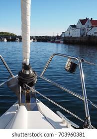Henningsvaer, Lofoten Islands, NORWAY-JULY 5, 2017. View of the marine . Sailing yacht. Norwegian fjord. Natural landscape. Location: Lofoten Islands Norway White nights morning summer travel