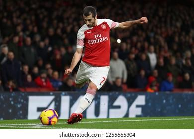 Henrikh Mkhitaryan of Arsenal takes a corner - Arsenal v Huddersfield Town, Premier League, Emirates Stadium, London (Holloway) - 8th December 2018