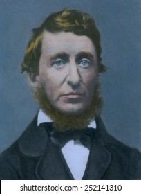 Henry David Thoreau (1817-1862), American writer and philiosopher best known for WALDEN; OR A LIFE IN THE WOODS, and his 1849 essay, CIVIL DISOBEDIENCE. 19th century photo with modern color.