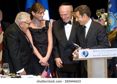 Henry Kissinger, Carla Bruni, Rabbi Arthur Schneier, Nicolas Sarkozy attending Appeal of Conscience Foundation's 2008 World Statesman Award Ceremony, Waldorf-Astoria Hotel, NY, Sept 23, 2008