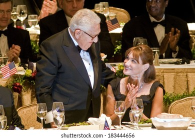 Henry Kissinger, Carla Bruni-Sarkozy attending Appeal of Conscience Foundation's 2008 World Statesman Award Ceremony, Waldorf-Astoria Hotel, New York, September 23, 2008