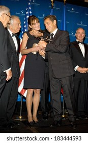 Henry Kissinger, Ralph Lauren, Carla Bruni, Nicolas Sarkozy, Stephen Schwarzman attend Appeal of Conscience Foundation's 2008 World Statesman Award Ceremony, Waldorf-Astoria Hotel, NY, Sept 23, 2008