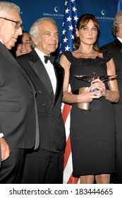 Henry Kissinger, Ralph Lauren, Carla Bruni-Sarkozy attending Appeal of Conscience Foundation's 2008 World Statesman Award Ceremony, Waldorf-Astoria Hotel, New York, September 23, 2008