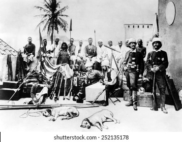 Henry Morton Stanley (seated, center), Serpa Pinto, (right of center), Africa, circa 1877.