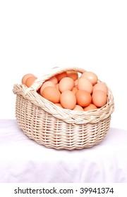 Hen's eggs in the basket.