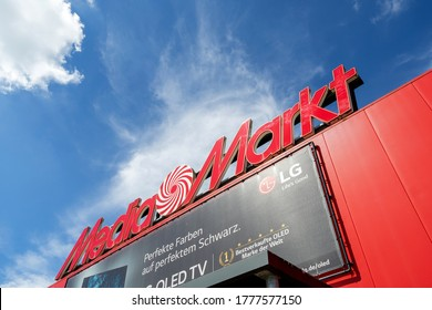 HENSTEDT-ULZBURG, GERMANY - JUNE 21, 2020: Media Markt sign at store. Media Markt is a German multinational chain of stores selling consumer electronics with over 1000 stores in Europe.