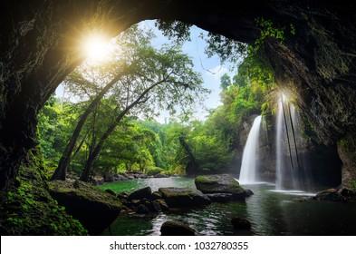 Heo Suwat Waterfall Khao Yai National Park in Thailand.