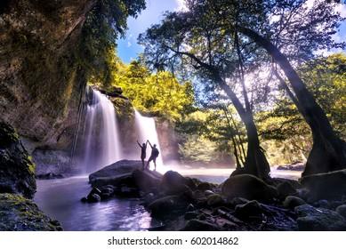 Heo Suwat Waterfall in Khao Yai National Park in Thailand