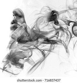 Her flawless features fade away into the swirls of smoke, creating an illusory and dreamy feeling