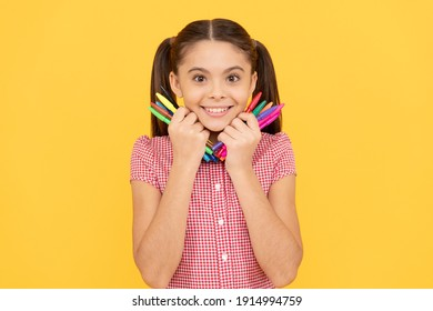 her hobby. creativity. back to school. cheerful teenage girl going to draw picture. child hold colorful pens. smiling kid night like drawing and painting. childhood development and education.