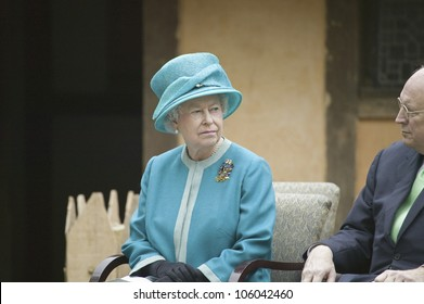 Her Majesty Queen Elizabeth II and Vice President Dick Cheney observing ceremony at James Fort, Jamestown Settlement, Virginia on May 4, 2007.