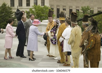 Her Majesty Queen Elizabeth II, Prince Philip, Governor Timothy M. Kaine and his wife Anne Holton meeting Powhatan Tribal Member, Richmond Virginia, May 3, 2007