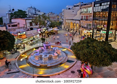 "HERAKLION, CRETE, GREECE- May 25, 2015. The Lions fountain (officially: ""Morozini fountain""), typical meeting point of Heraklion city, Venizelou square."