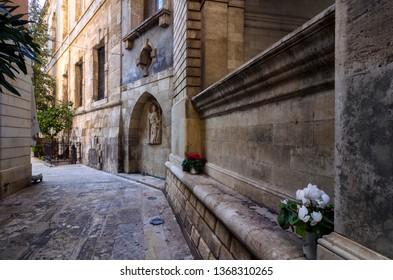 Heraklion, Crete Island / Greece - March 27, 2019: Sagredo Fountain. Built by Giovanni Sagredo between 1602-1604, part of it has been embedded in the northwest corner of today's Loggia building