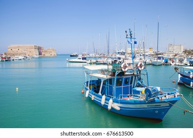 HERAKLION, CRETE - JUNE 30: Boats in the harbor of Heraklion on June 30th, 2015. Crete island, Greece.