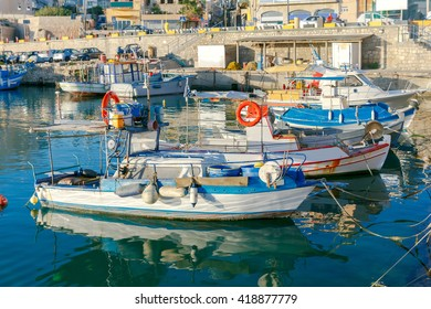 Heraklion. Fishing boats in the old port.