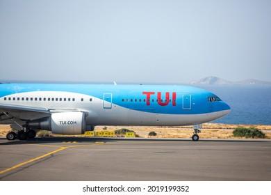 Heraklion, Greece - Aug. 01, 2021. A TUI Airways Boeing 767-300 (G-OBYG) taxis at Heraklion International Airport.
