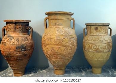 HERAKLION, GREECE - CIRCA MAY 2018 Big ceramic vases in Acrhaeological museum