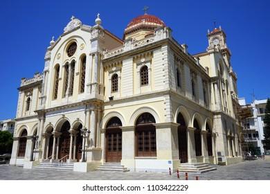 HERAKLION, GREECE - CIRCA MAY 2018 Saint Minas cathedral