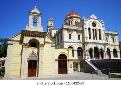 HERAKLION, GREECE - CIRCA MAY 2018 Church and Saint Minas cathedral