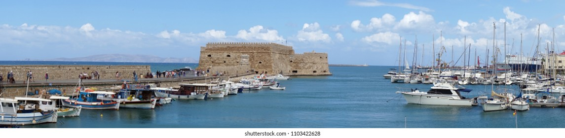 HERAKLION, GREECE - CIRCA MAY 2018 Old port