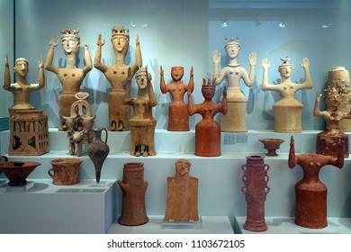 HERAKLION, GREECE - CIRCA MAY 2018 Minoan sculptures in Acrhaeological museum