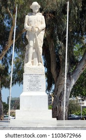 HERAKLION, GREECE - CIRCA MAY 2018 The Unknown Soldier Statue, Crete Commemorating 1912-1922 Wars