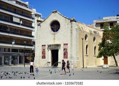 HERAKLION, GREECE - CIRCA MAY 2018 Saint Minas church