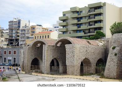 HERAKLION, GREECE - CIRCA MAY 2018 Old storage in port