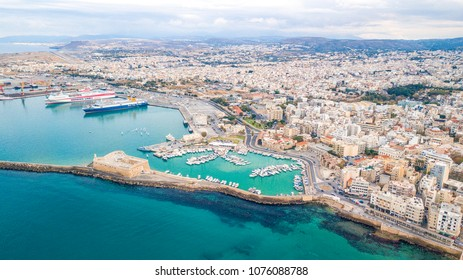 Heraklion, Greece - November 25 2017: Aerial Panorama of Heraklion city, Crete island Greece.