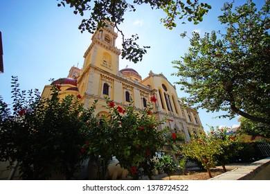 Heraklion, Greece, September 25 2018, Exterior view of Agios Minas (Saint Minas) Cathedral in the historic center
