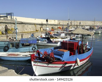 Heraklion harbour with fishing boats. Crete, Greece
