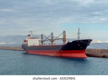 Heraklion. A large dry-cargo ship at the pier.