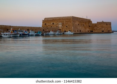 Heraklion/Greece - July 31th  2018: View of Heraklion Harbour with boats and the Castle