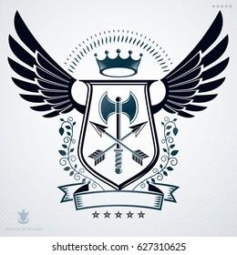 Heraldic coat of arms decorative emblem. Symbolic illustration in vintsge style.