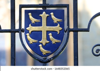 heraldic crest or coat of arms of University College Oxford, also the coat of arms of Edward the Confessor son of Alfred the Great although the college was founded by William of Durham