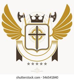 Heraldic design, vintage emblem. Old Victorian symbol.