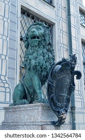 The heraldic lion of Bavaria in Residenzstrasse, Munich,at the entrance to the royal palace, still incorporated in modern representations of Bayern (Bavaria)