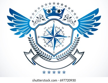 Heraldic sign created using elements, heraldry winged emblem composed using royal crown and navigation compass.