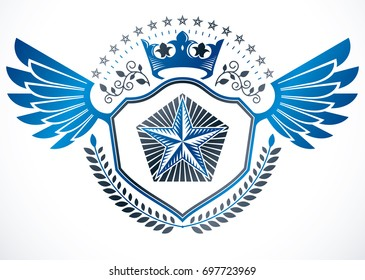 Heraldic sign made using elements, heraldry insignia created using monarch crown, pentagonal stars and laurel wreath