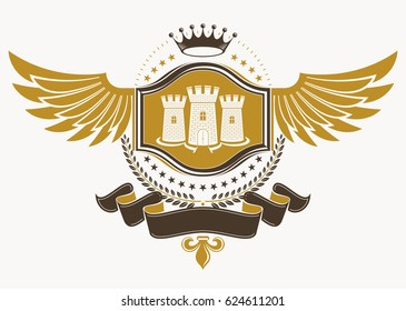 Heraldic sign made using vintage elements, eagle wings, medieval tower and monarch crown