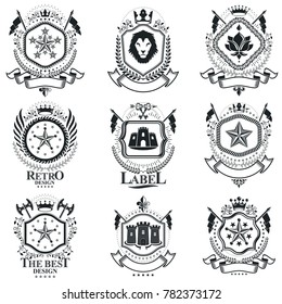 Heraldic signs vintage elements. Collection of symbols in vintage style.
