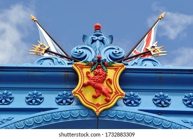 Heraldry & Flags on Preserved Cast Iron Ornamental Gate from Old  18th Century Foundry