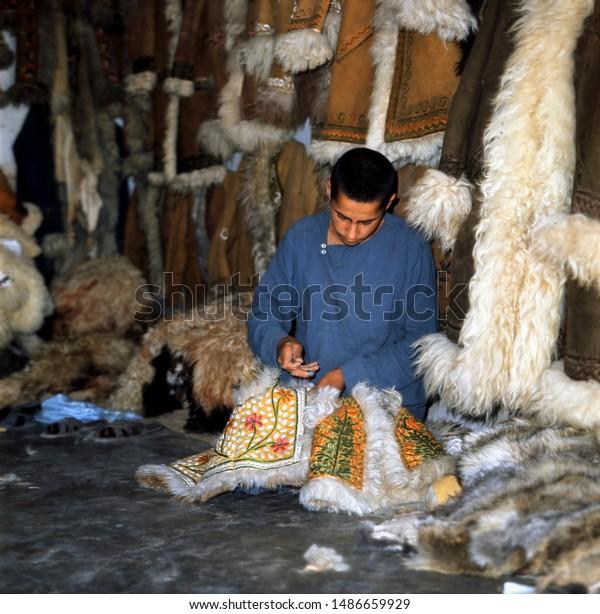 Herat, Afghanistan, MAY 1974, Afghan Coat shop