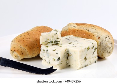 Herb Cheese and Bread Loaf Bun on white background